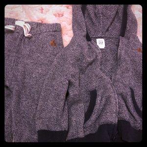 Gap blue comfy zipup hooded sweatshirt and pants